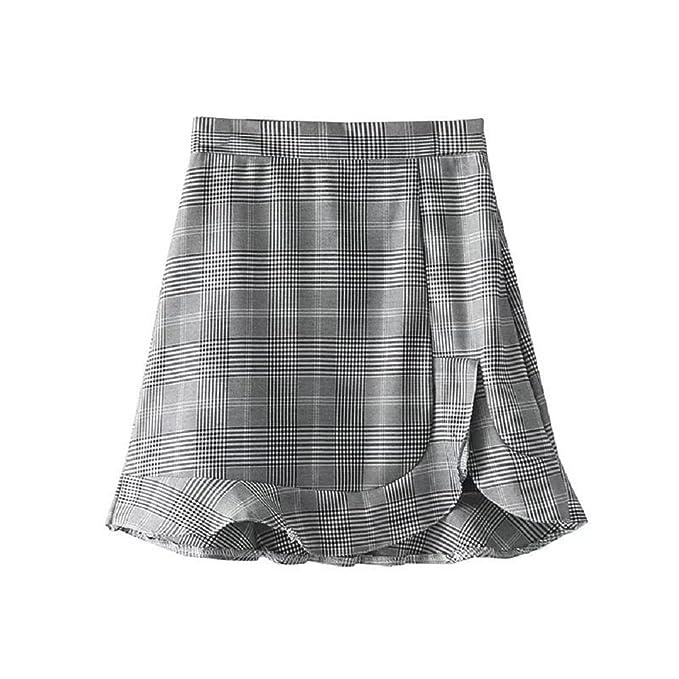 mejor selección 8c71f b1718 SYGoodBUY Falda Corta de Mujer Falda Cuadrada de Rejilla ...