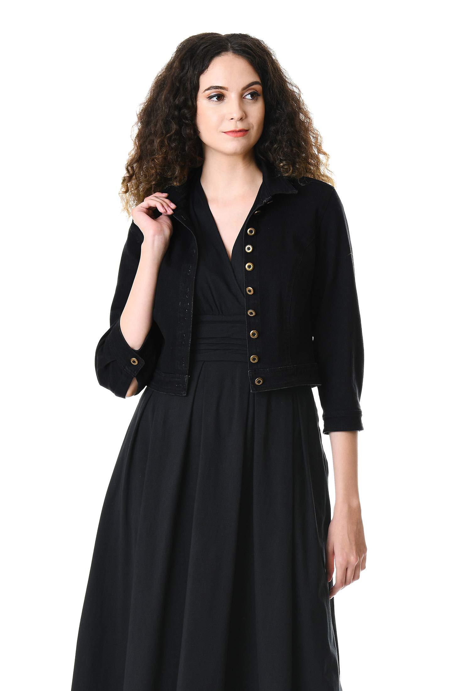 eShakti Women's Black Denim Crop Jacket 4X-28W Short Black