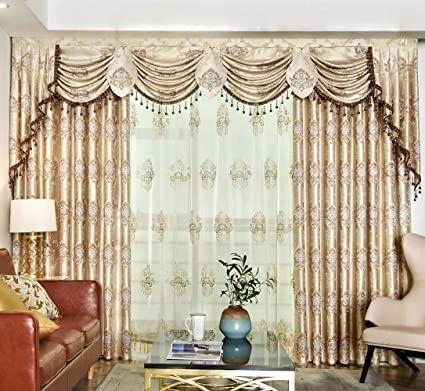 Queen\'s House Swag Waterfall Valance Luxury Drapes and Curtains for Living  Room Gold Curtains for Bedroom 106\'\'W×98\'\'HR