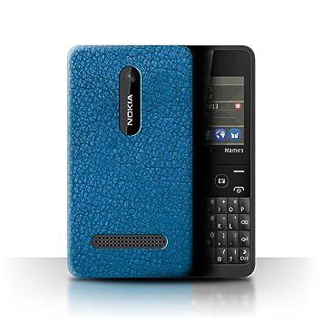 size 40 5a62e c0d65 Stuff4 Phone Case/Cover for Nokia Asha 210 / Aqua Blue Design/Leather Patch  Effect Collection