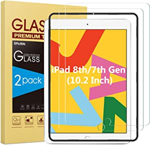 [2-Pack] SPARIN Screen Protector for iPad 8th Generation/iPad 7th Generation, 9H Hardness Tempered Glass for iPad 10.2 2020 & 2019 Released, Compatible with Apple Pencil