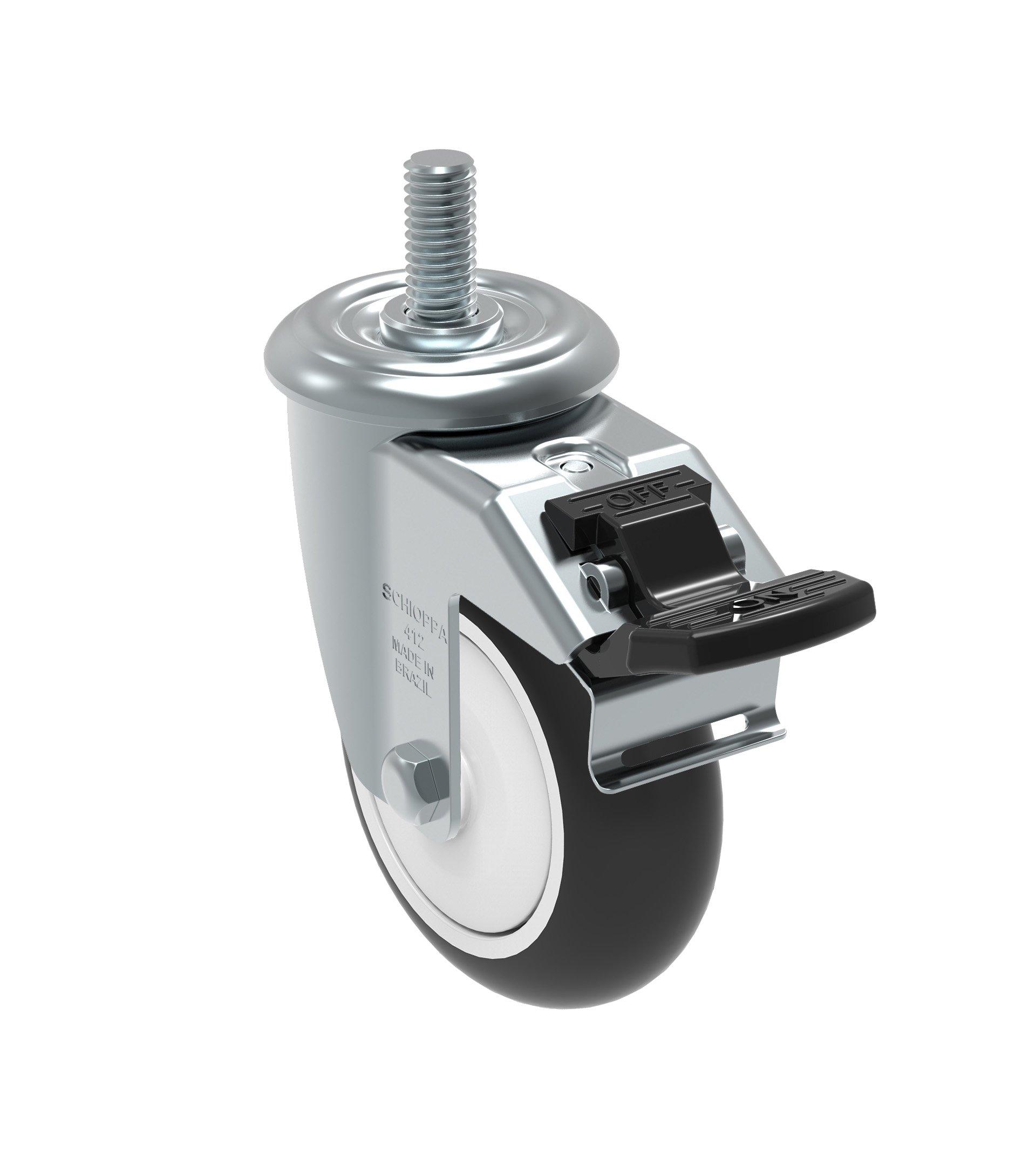 Schioppa GLEEF 412 NPE G L12 Series 4'' x 1-1/4'' Diameter Swivel Caster with Total Lock Brake, Non-Marking Polypropylene Precision Ball Bearing Wheel, 3/8'' Diameter x 1-1/2'' Length Threaded Stem, 275 lb