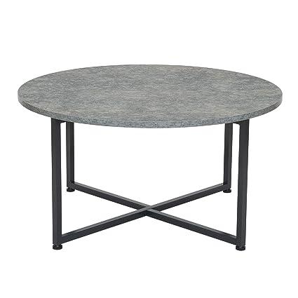 Amazon Com Household Essentials Round Gray Coffee Table Grey Slate