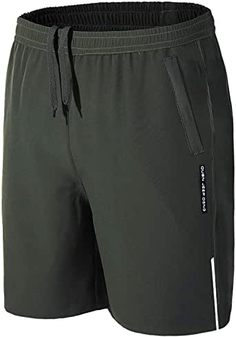BIYLACLESEN Men's Running Shorts with Zipper Pockets Mositure-Wicking Lightweight Quick Dry Breathable Gym Shorts