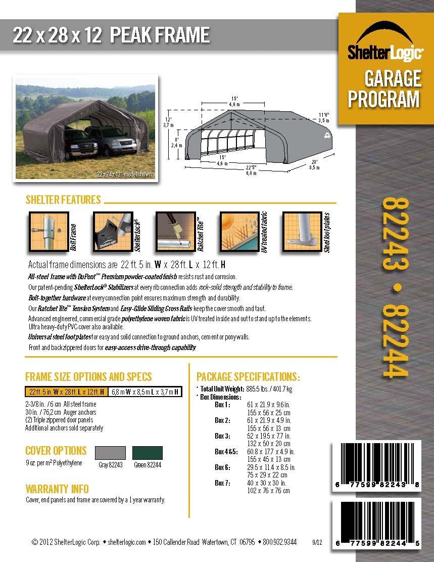 ShelterLogic 82143 Grey 22x24x12 Peak Style Shelter