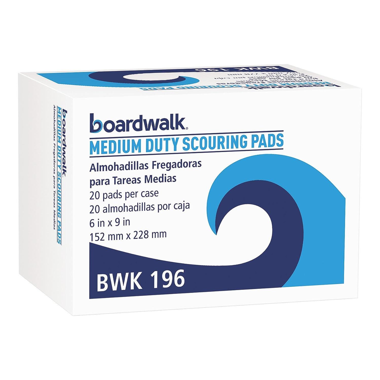Boardwalk 196 Medium Duty Scour Pad, Green, 6 x 9 (Case of 20) United Stationers BWK196 PMP196