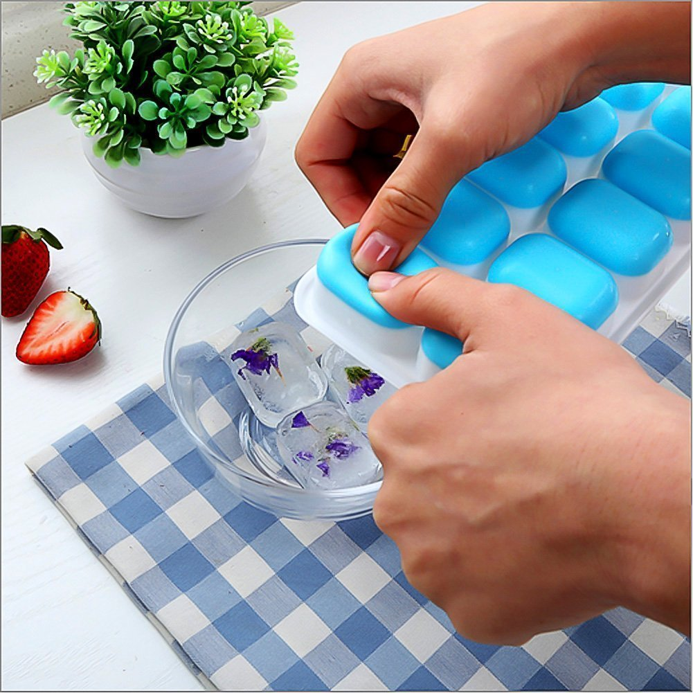 Ice Cube Trays Silicone,Ice Cube Mold Ice Tray Spill Resistant Lids 4 Pack and Flexible Reusable 14-Ice Trays Set with Lid Stackable BPA Free Dishwasher Safe Ice Cube Maker Storage Containers by SBC (Image #5)