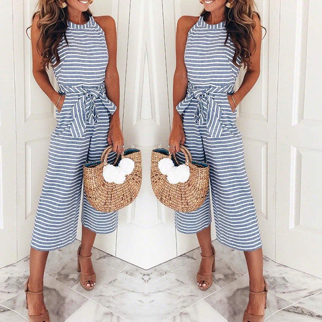 AMiERY Womens Floral Printed Jumpsuits Solid Rompers Casual Comfy Striped Jumpsuit with Pockets