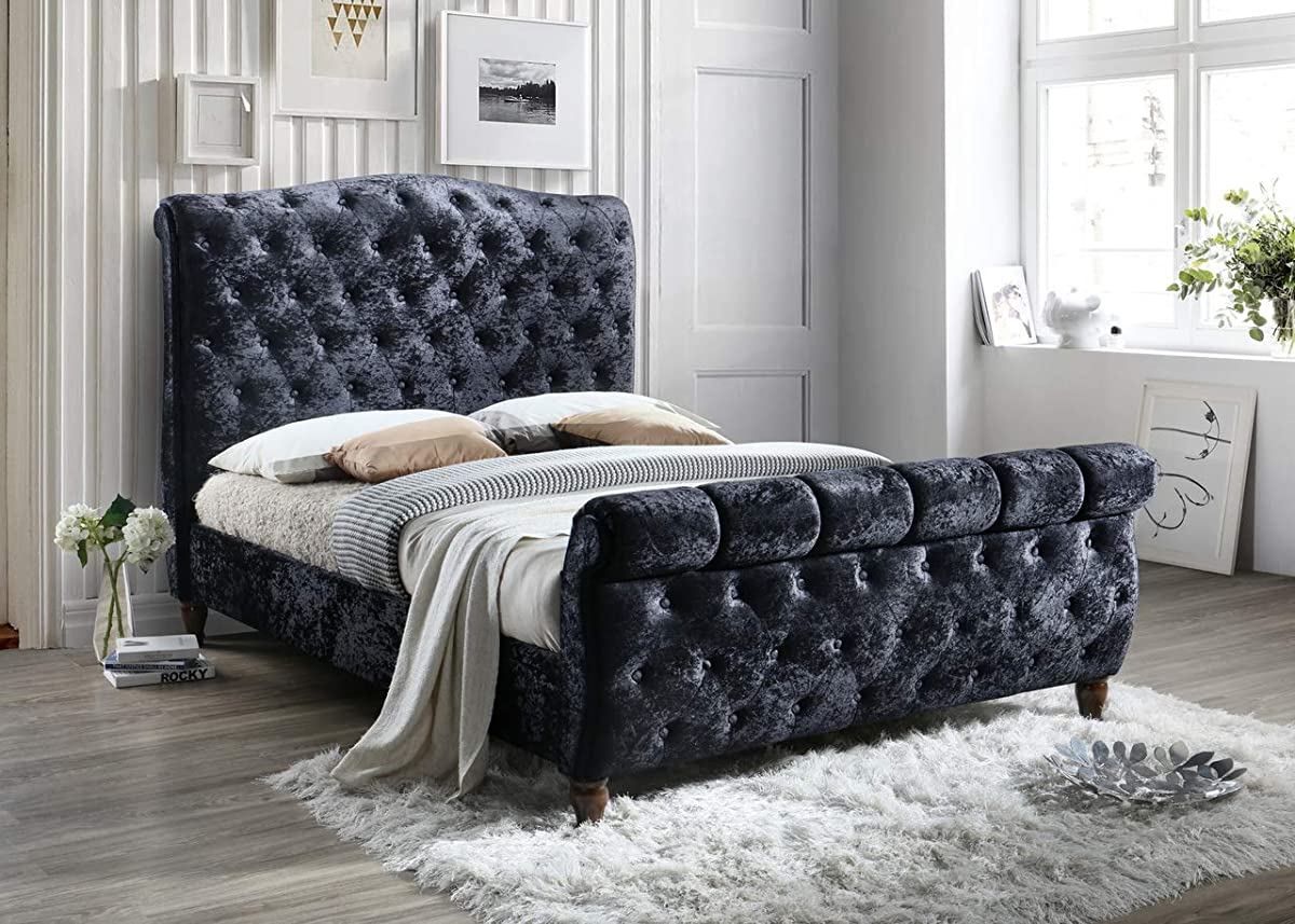 Upholstered Soft Velvet Black Elegant Victorian Luxurious Glam Tufted Platform Bed-Queen and King -no Box Spring Required (King)