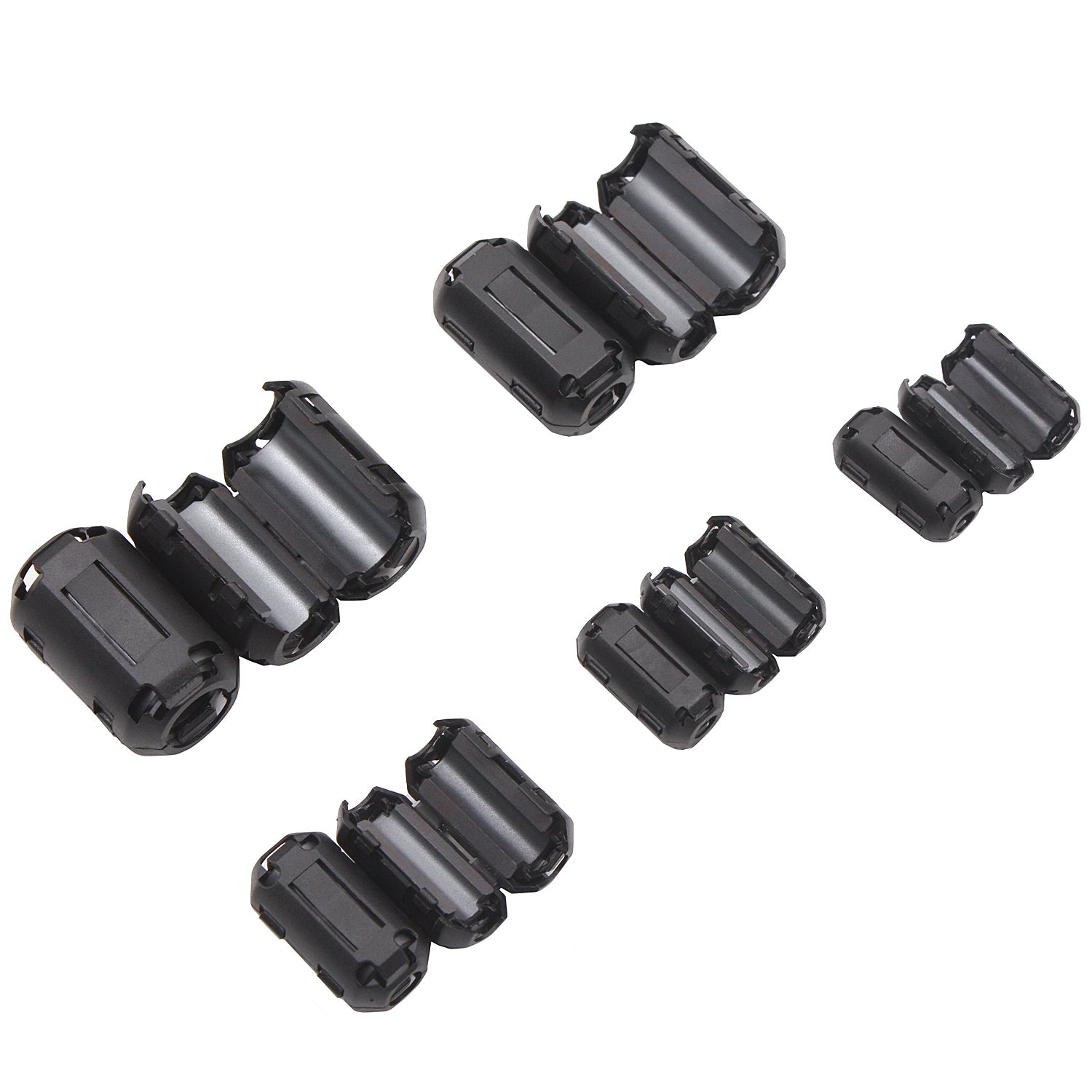 RFI EMI Noise Suppressor Cable Clip for 3mm// 5mm// 7mm// 9mm// 13mm Diameter Led Light Radio Static 20 Pieces Clip-on Ferrite Ring Cores Black Noise Filter Clip BeltandRoad 623-0461167281