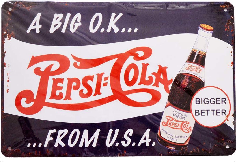 "Retro Vintage Pepsi Cola A Big O.K.from U.S.A Pin Up Tin Metal Sign for Home Bar Garage, 12"" x 8"""