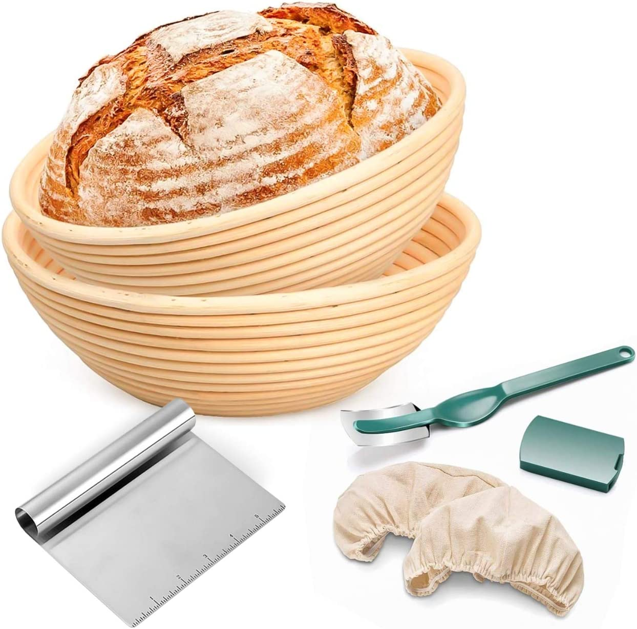 Round Banneton Proofing Basket Set of 2-9 inch and 10 inch size bread baskets