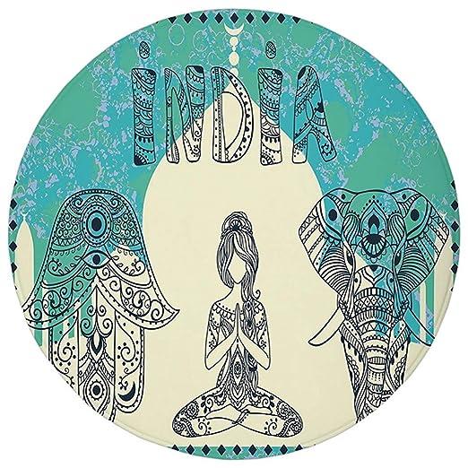 Round Rug Mat Carpet,Yoga,Ethnic Elephant Hamsa Hand Woman ...