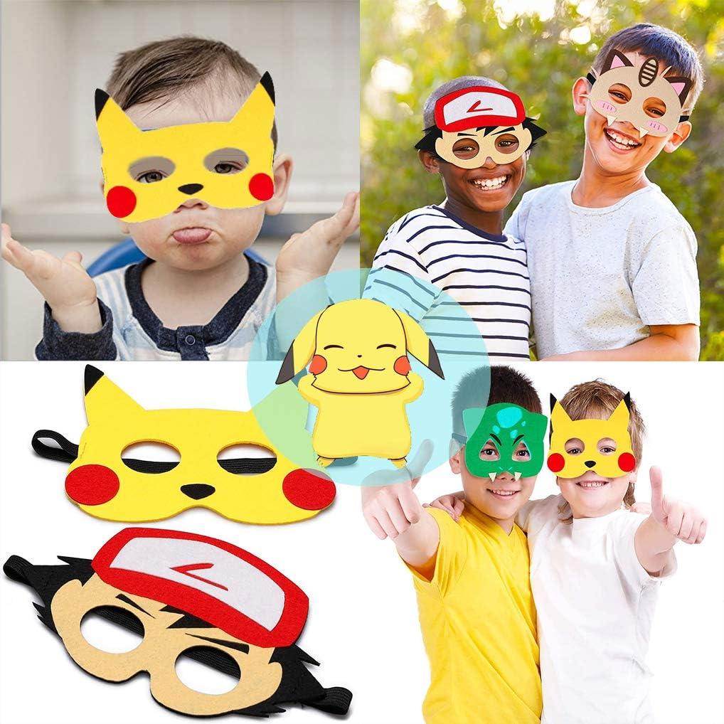Kinder Cosplay Party Masken Geburtstag Augen Masken passen f/ür Kleinkinder Filz Tiermasken f/ür Partybeutelf/üller OMZGXGOD 12pcs Masken Spielzeug Party Pikachu Filz Masken