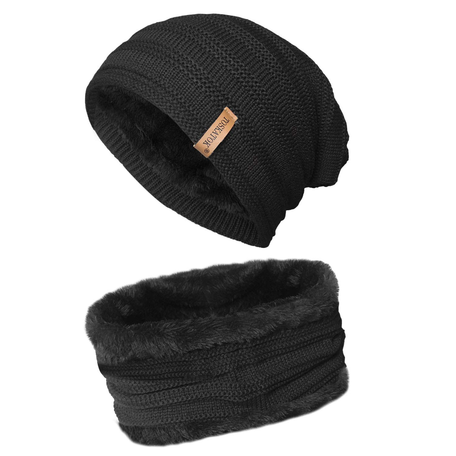 bf3263f7d5b TOSKATOK® Unisex Mens Ladies Fleece Lined Chunky Knit Slouch Beanie Hat and  Neckwarmer Snood for Outdoor Winter Sports Skiing