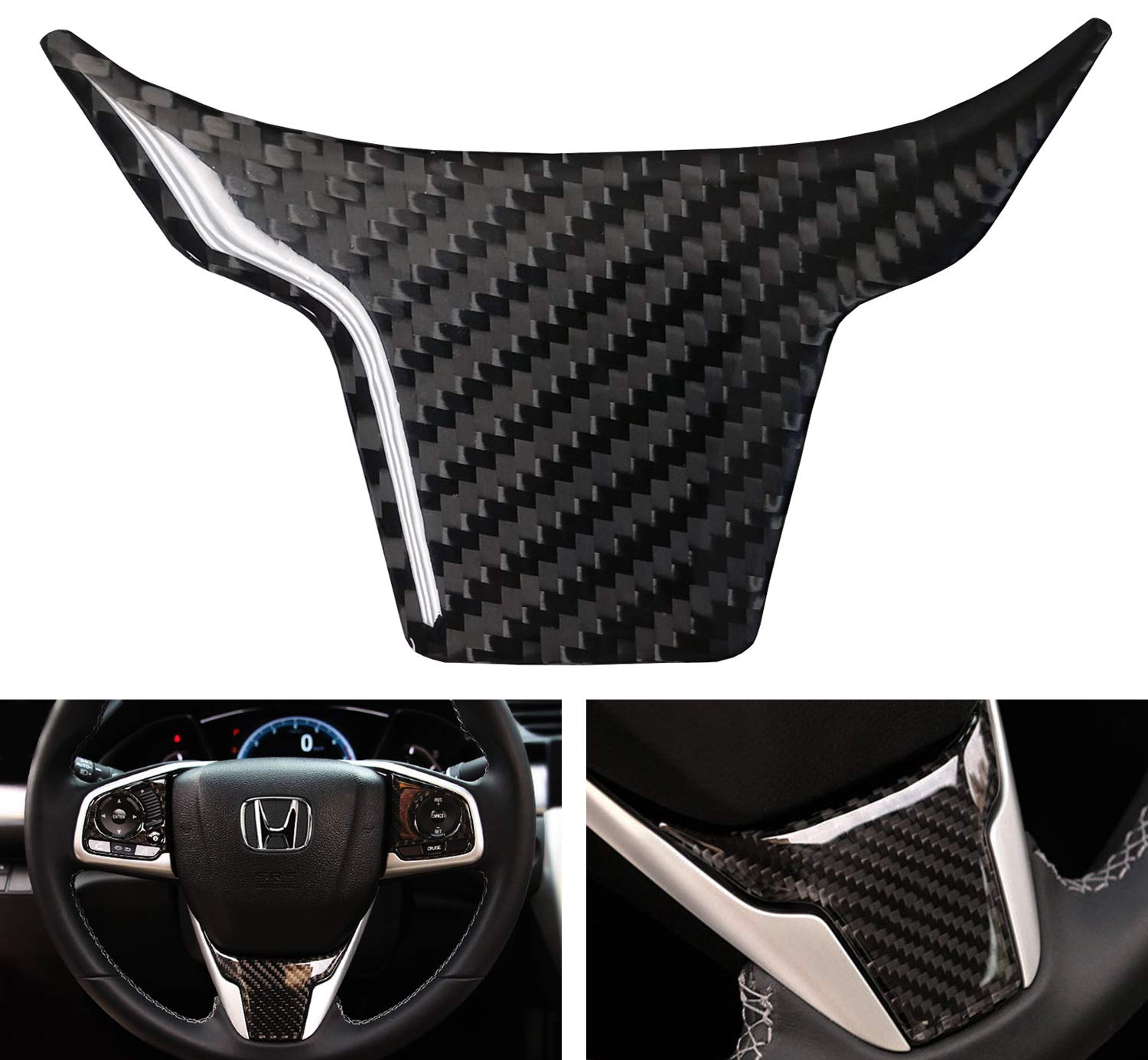 Senzeal Carbon Fiber Steering Wheel Cover Panel Frame Trim Fit for Honda 10th Gen Civic 2016 2017 2018 2019