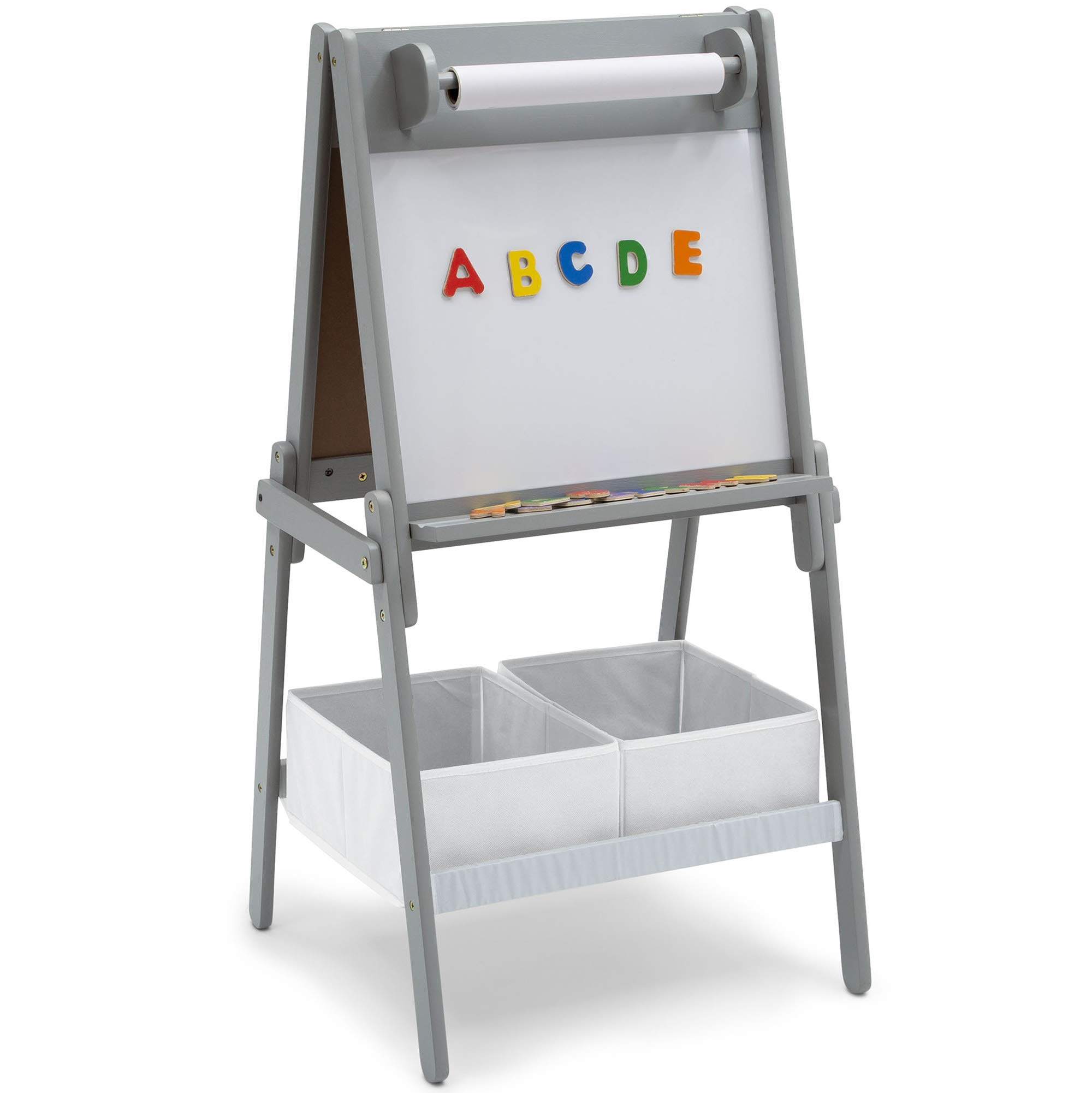 Delta Children Chelsea Double-Sided Storage Easel with Paper Roll and Magnets | Dry Erase Surface & Chalkboard Surface, Light Grey/White, Light Grey/White