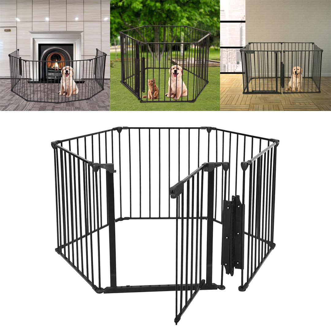 Pet Playpen with Door, Mosunx Foldable Pet Puppy Cat Metal Exercise Barrier Fence for Indoor Outdoor Yard, Detachable DIY Shape As You Need (Black, 6 Panel, 29.5inch High) by Mosunx