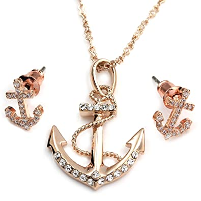 Amazoncom FC Rose Gold Plated Crystal CZ Nautical Anchor Necklace