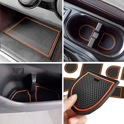 Auovo Anti-dust Door Mats for 2020 2020 2020 Subaru Crosstrek and Impreza Gate Door Liners Inserts Cup Console Mats Interior Accessories (Pack of 14) (Orange): Automotive