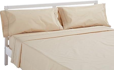 Es-Tela - Juego de sábanas liso con biés, color camel, cama de 150 cm (2 almohadas), algodón-poliéster, 4 piezas: Amazon.es: Hogar