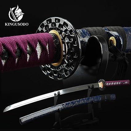 Amazon.com: KINGUSODO Katana espada, Cabezal de corte negro ...