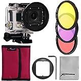 XCSOURCE Pro kit Filtre de 3PCS Filtres du couleur (Rose + Violet + jaune) + Adaptateur pour filtre 58mm + housse Rose pour fitre + Chiffon de nettoyage d'objectif pour Gopro Hero 3 LF364