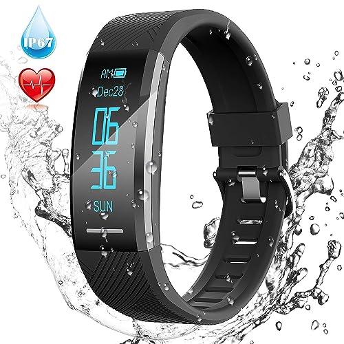 Pulsera de Actividad Inteligente Impermeable IP67 AGPTEK Reloj Deportivo con GPS Podómetro Monitor de Ritmo Calorías Sueño Notificación etc para Hombre Mujer Niños Negro C11
