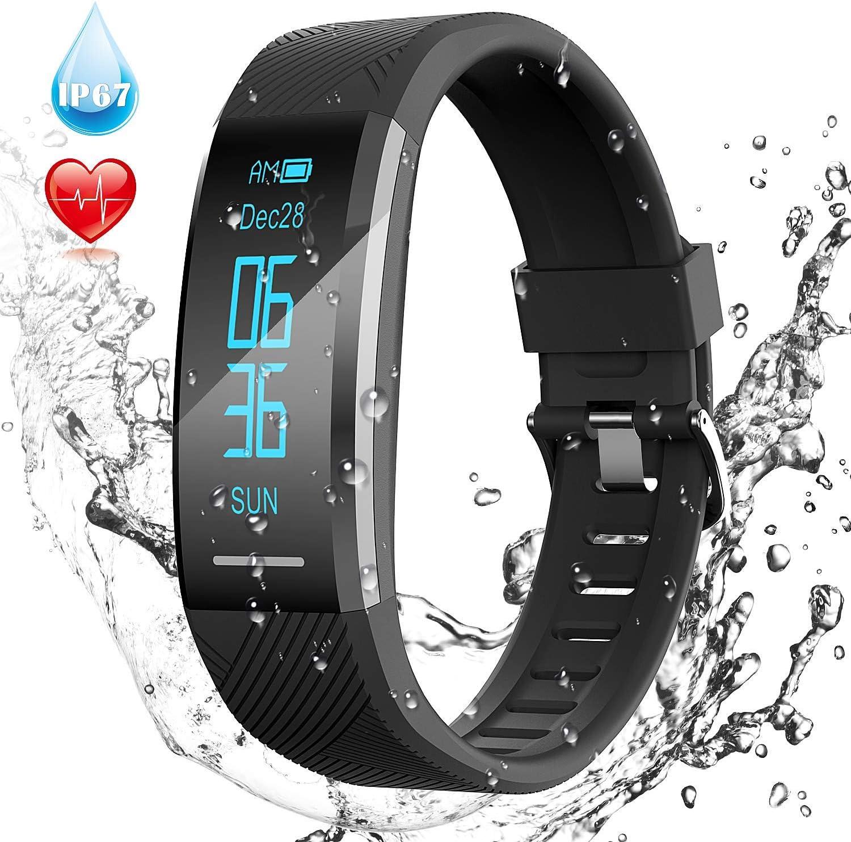 Pulsera de Actividad Inteligente Impermeable IP67, AGPTEK Reloj Deportivo con GPS Podómetro, Monitor de Ritmo, Calorías, Sueño Notificación etc para Hombre Mujer Niños, Negro C11