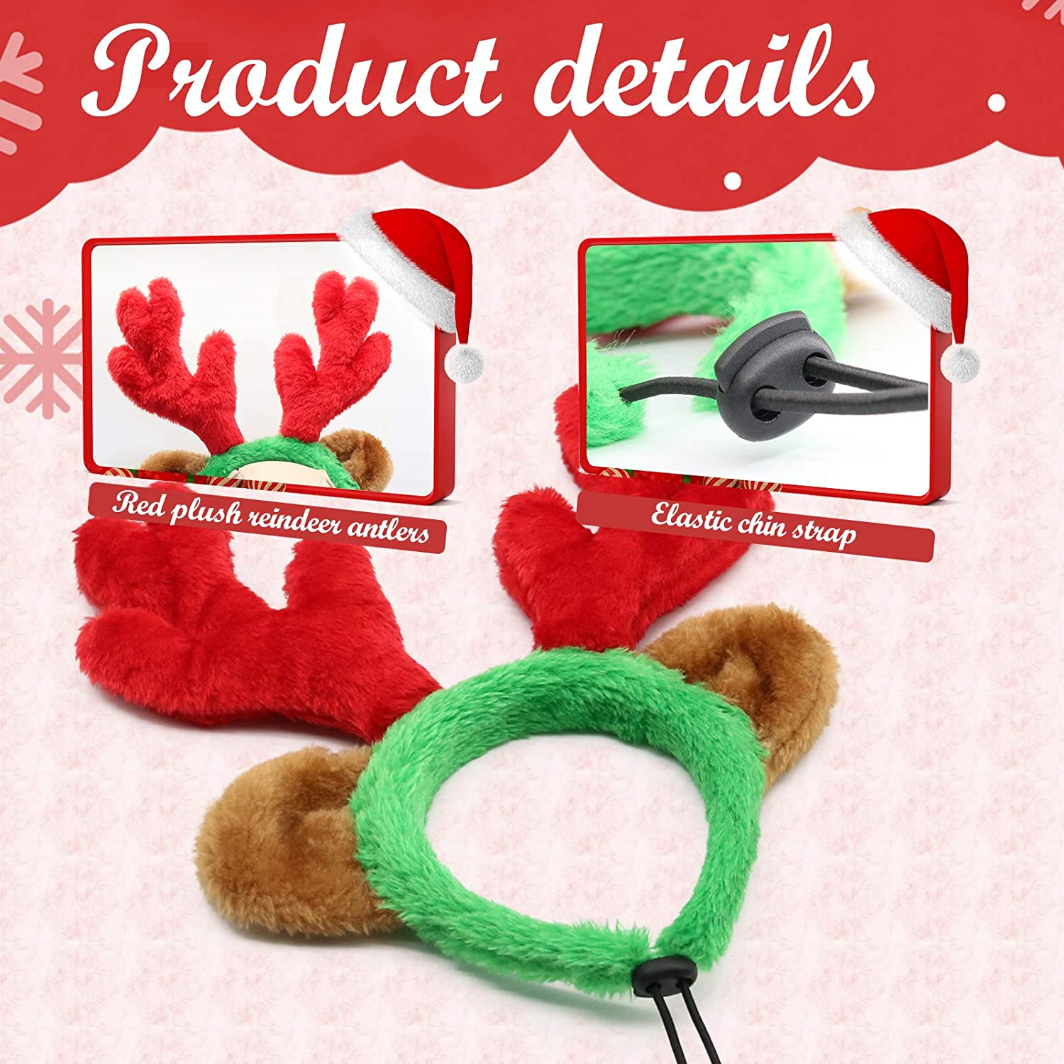 BWOGUE Christmas Reindeer Antlers with Bell Collar Set Adjustable Dog Christmas Costume Accessories Classic Elk Headwear for Medium Large Dogs