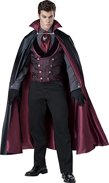 Adult Mens Vampire Costume Count Gothic Dracula Halloween Fancy Dress Outfit