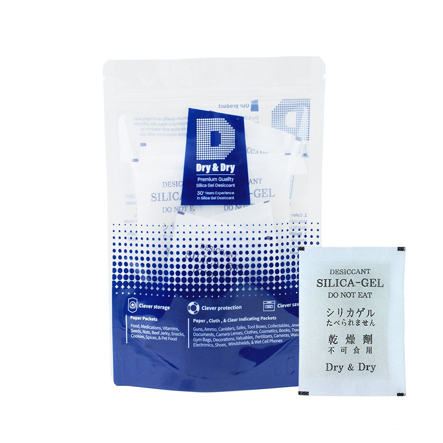 DRY&DRY 20 Gram [30 Packets] Premium Pure & Safe Silica Gel Packets Desiccant Dehumidifiers - Rechargeable Fabric