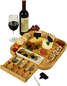 Picnic at Ascot Bamboo Cutting Board for Cheese & Charcuterie with Ceramic Dish, Knife Set & Cheese Markers - Designed & Quality Checked in the USA