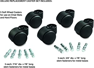 """Deluxe Futura Hooded Chair Mat Casters, 7/16"""" Dia. x7/8"""" Long and 3/8"""" Dia. x7/8"""" Long Stems, 120 lbs./Caster, Matte Black Finish, 5/Set"""