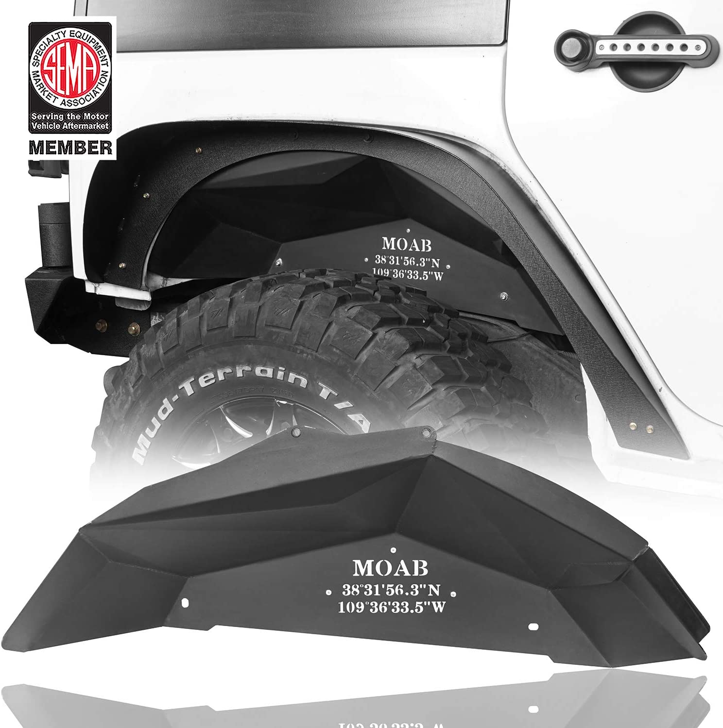 Hooke Road Jeep Wrangler JK Steel Inner Fender Liners Rear Fender Mud Guards for 07-18 Jeep JK Wrangler & Unlimited