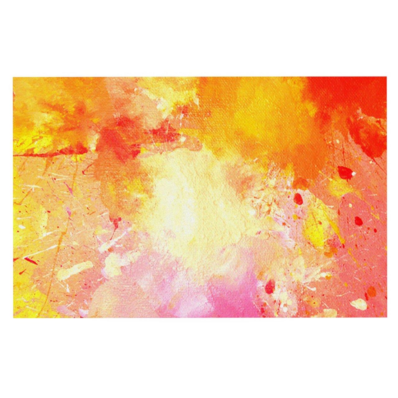 Kess InHouse CarolLynn Tice ''Splash'' Orange Yellow Feeding Mat for Pet Bowl, 18 by 13-Inch