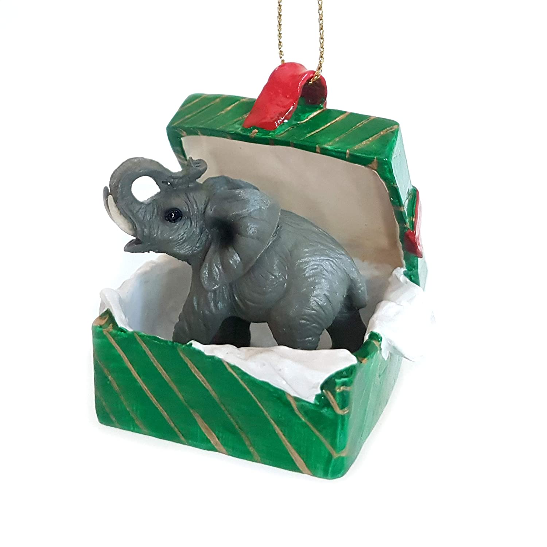 Elephant Gift Box Christmas Ornament Delightful