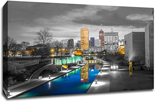 Indianapolis Touch of Color Skyline 32×48 Gallery Wrapped Canvas Wall Art