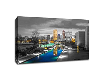 Indianapolis – Touch of Color Skylines – 36×24 Gallery Wrapped Canvas Wall Art ToC