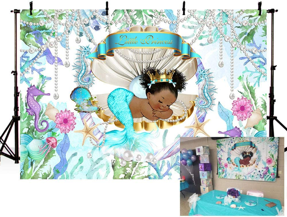 MEHOFOTO Mermaid Theme Little Princess Baby Shower Photo Backgrounds Under The Sea Pearl Shell Girl Birthday Party Banner Backdrops for Photography 7x5ft
