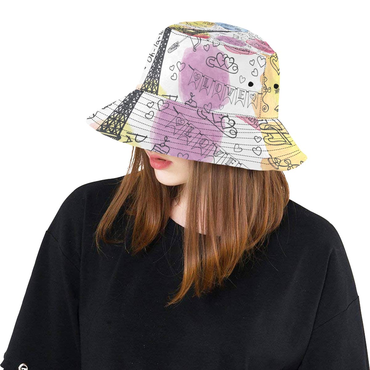 Love Paris Travel France Card New Summer Unisex Cotton Fashion Fishing Sun Bucket Hats for Kid Teens Women and Men with Customize Top Packable Fisherman Cap for Outdoor Travel