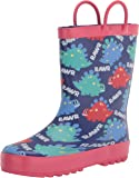 Knodel Rain Boots for Kids, Waterproof Rubber Boots with Easy-On Handles for Boys and Girls, Rubber Printed Patterns Shoes for Toddlers