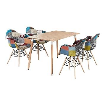 Etonnant Table Imprimé Chêne + 4 Chaises Avec Accoudoirs En Tissu Patchwork   Design  Scandinave   Ensemble