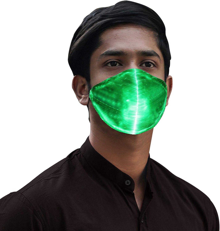 LED Luminous Flashing Face Mask Party Masks Light Up Dance Halloween Cosplay YH
