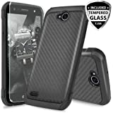 LG X Power 2 M320 Case, LG Fiesta LTE Case, LG X Charge Case, LG Fiesta 2 Case, with TJS [Tempered Glass Screen Protector] Shock Absorbing Armor Case Cover Carbon Fiber Back with Hard TPU Inner Layer