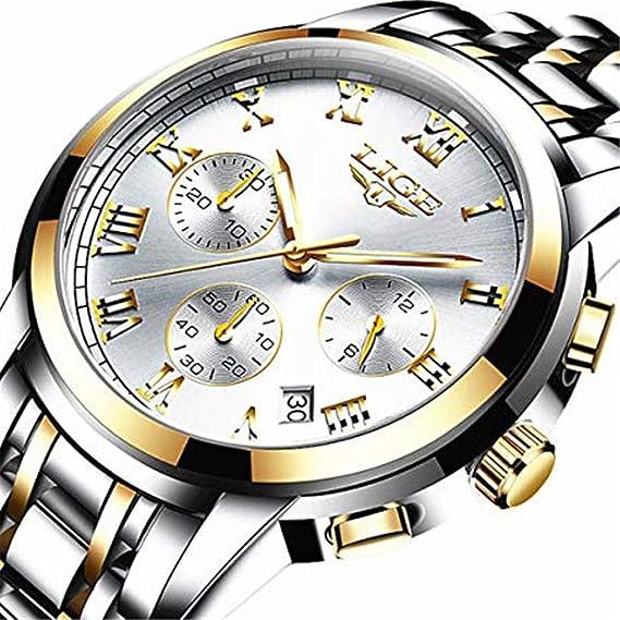 Relojes para Hombre, Lujo Marca LIGE Acero Inoxidable Cronógrafo Deportes Analógico Reloj de Cuarzo para