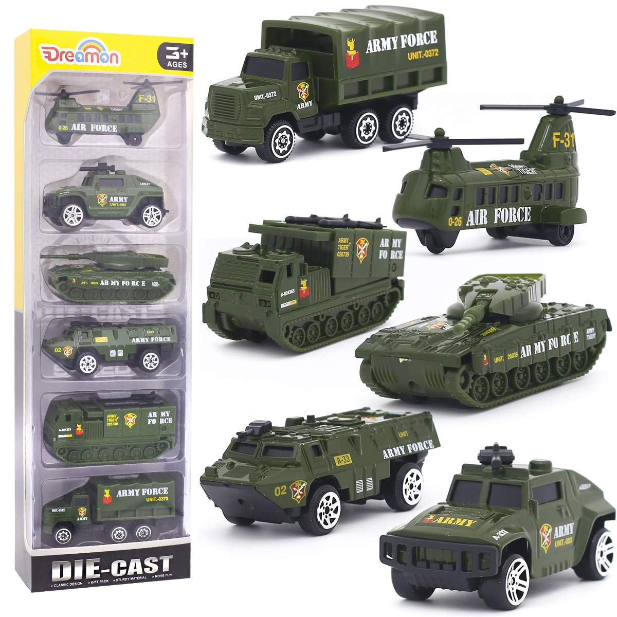6Pcs Set Alloy Military Truck Set Mini Pocket Size Models Play Vehicles Toy for Kids Boys Party Favors Cake Decorations Topper Birthday Gift