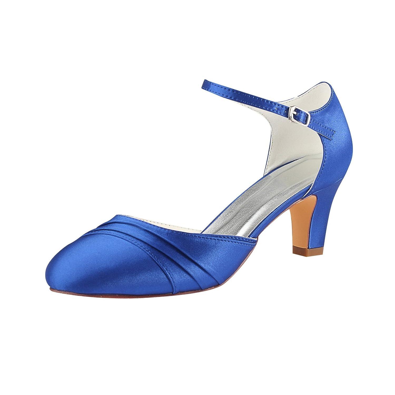 Emily Bridal Zapatos Nupciales Zapatos de Novia de Marfil 2018 Zapatos de Boda con Correa de Tobillo Plisada Redonda de Tacón Alto Zapatos de Boda de la Vendimia 36 EU
