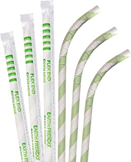 product image for Biodegradable Eco Friendly Paper Straws, Compostable Green Striped Jumbo Eco-Flex Paper Special Wrapper 7.75 Inch, Box of 3200 Straws