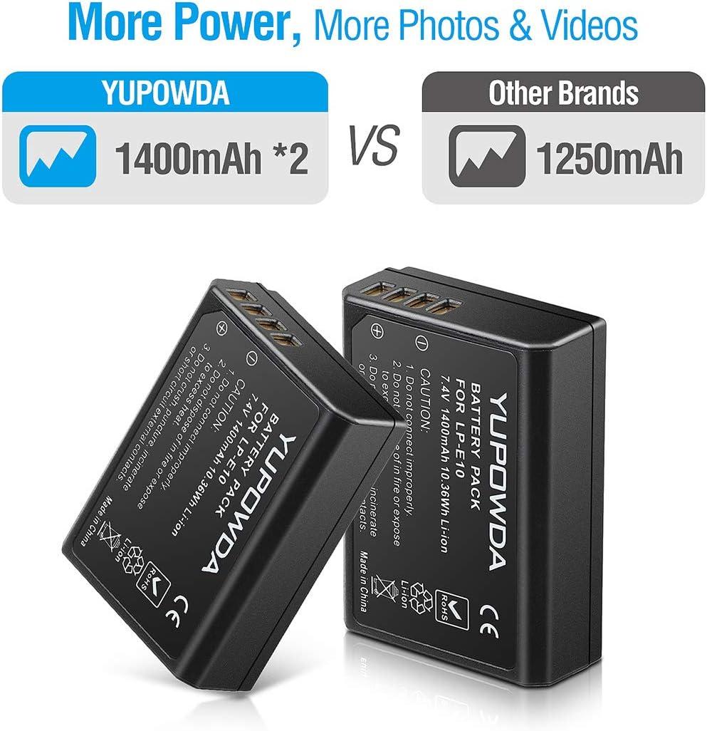 Rebel T6 cam/éras digitales et Double Chargeur Intelligent pour Canon LP-E10 et Canon EOS 1100D//1200D//1300D Kiss X50//X70 Rebel T3,Rebel T5 2-Pack LP-E10 YUPOWDA Paquet de Batterie de Remplacement